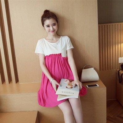 孕婦 裝 短袖 洋裝 連身 裙-時尚拼接寬鬆舒適女連衣裙3色73mx23[獨家進口][米蘭精品]