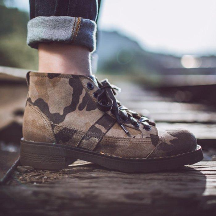 馬丁靴男鞋冬季潮鞋2019新款短靴英倫風中筒靴子皮質高筒迷彩軍靴