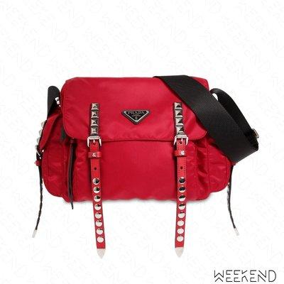 【WEEKEND】 PRADA Studded Logo 尼龍 鉚釘扣帶 肩背包 紅色 18秋冬