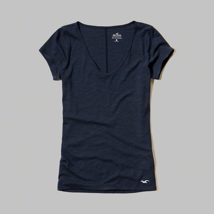 【HOLLISTER Co.】【HCO】【零碼M】HC女款短袖V領素T左下白鷗黑藍 F03170406-04