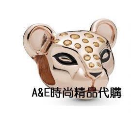 A&E精品代購Pandora 潘朵拉純 立體花豹頭串珠  925純銀 Charms 美國代購