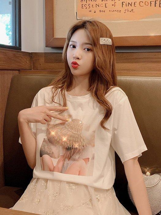 ❤My Ladies 千奈公主❤ =韓國帶回=微美氣質✨草帽釘珠美女印花短袖T恤  ✈2019 夏季新品H185