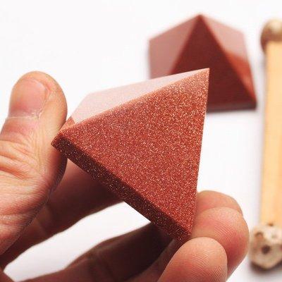旦旦妙 金沙石金字塔擺件家居風水佛塔三角水晶塔擺飾 閃晶96