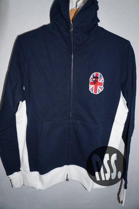 特價「NSS』A BATHING APE BAPE UK HEAD FULL ZIP HOODIE 連帽外套 藍 S M