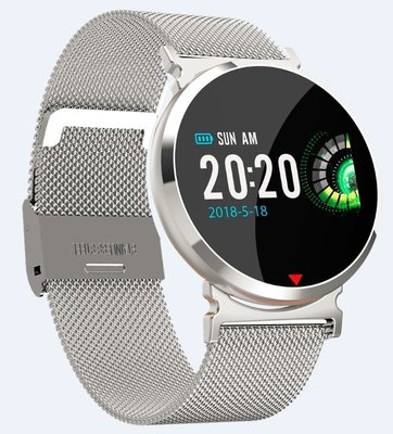 Sante IP67 防水即時心率壓監測智能手錶 SE28 銀色配銀鋼帶 (順豐包郵)