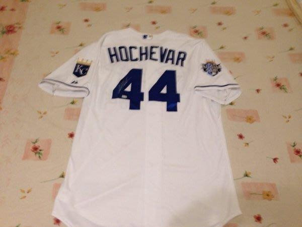 MLB KC ROYALS #44 LUKE HOCHEVAR GAME ISSUED AUTO HOME JERSEY