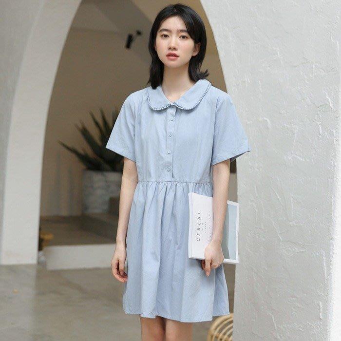 SeyeS 森林系雜誌款水藍色甜美娃娃領洋裝
