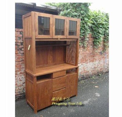 【DYL】柚木全實木4.2尺餐櫃、碗盤櫥櫃(全館一律免運費)