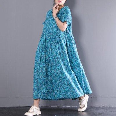 2018夏裝新款韓版寬松小碎花印花V領中長款棉麻連衣裙女