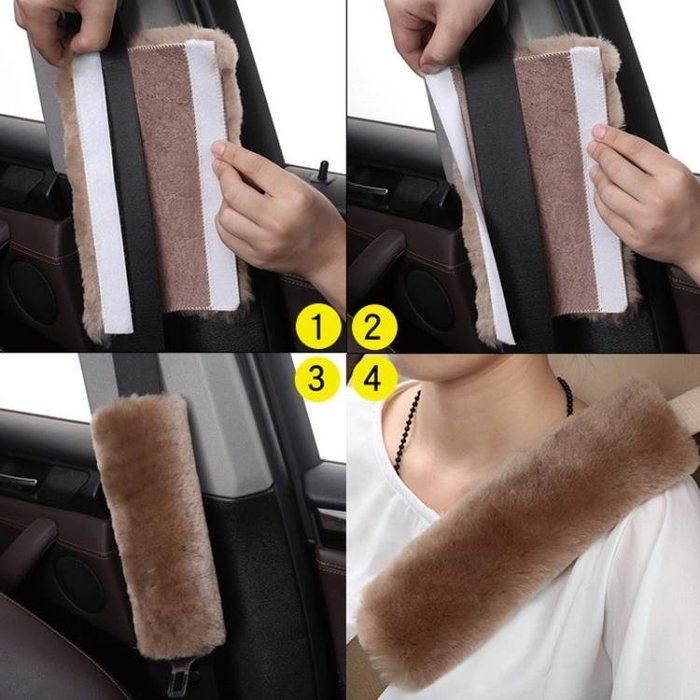 「免運」汽車安全帶護肩車用男女通用保暖透氣毛絨護肩套 『菲菲時尚館』