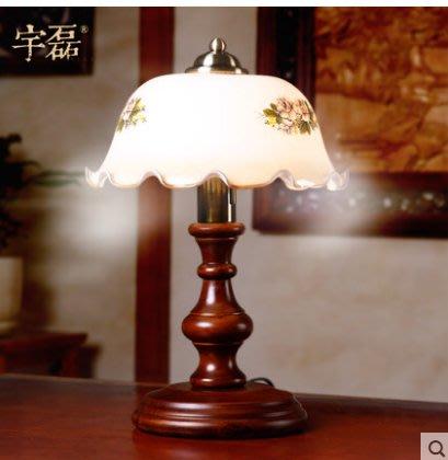 美式鄉村臺燈臥室床頭櫃燈創意民國復古典實木調光LED老上海(不含燈源)
