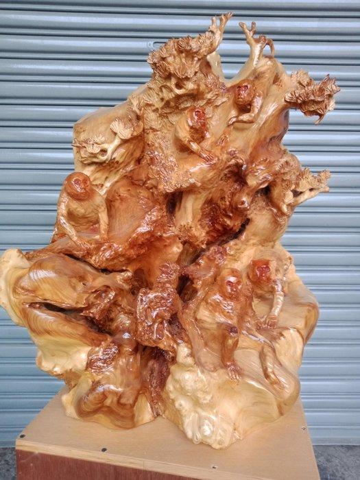 五福臨門獼猴世界  福衫榴木雕刻