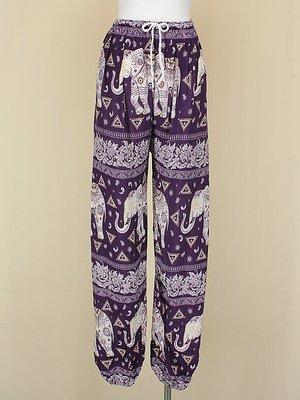 貞新二手衣 紫色印度大象民俗風棉質泡褲燈籠褲束口褲F號(10403)