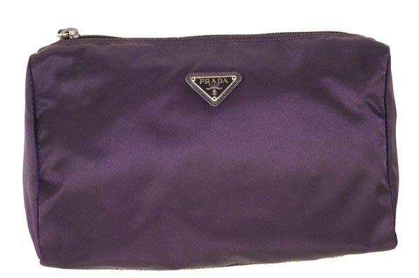 *旺角名店* Prada 真品 1N0012 深紫色 XL 尺寸的 化妝包 收納包 **全新品** [042513]