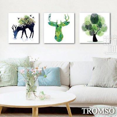 TROMSO-時尚無框畫-W217綠鹿森林40x40cm/北歐風 簡約 鹿頭白色客廳大樹小屋【H0309296】S9