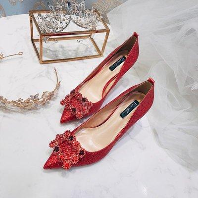 晚宴夜宴鞋名媛方扣高跟鞋秋季一字扣亮片伴娘鞋裸色新娘鞋尖頭細跟紅色婚鞋