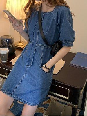 泡泡袖方領收腰牛仔洋裝  chic ☆...