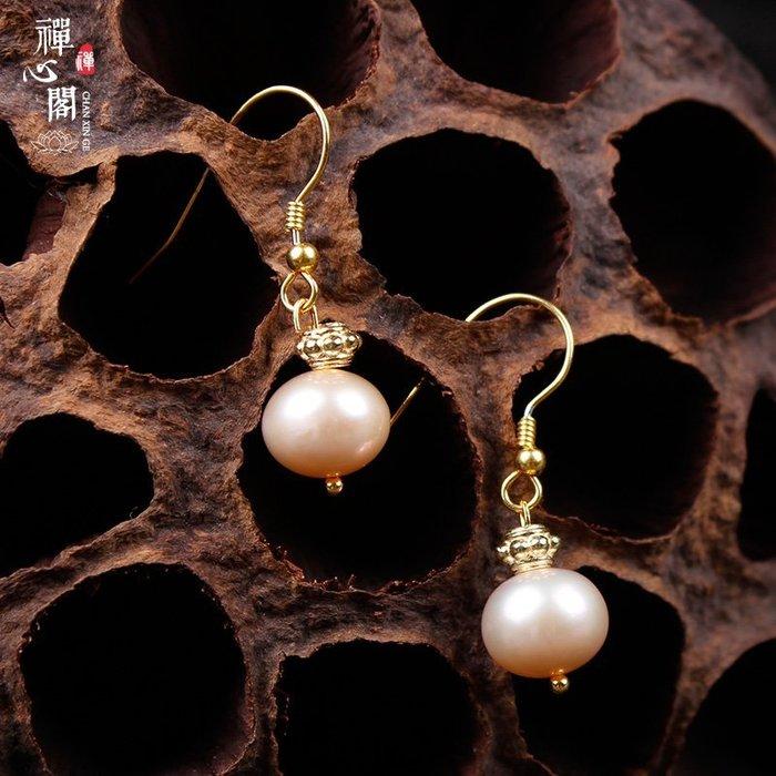 佛系☼翌定制原創耳墜天然粉珍珠耳環925銀鍍金耳勾女款耳飾飾品