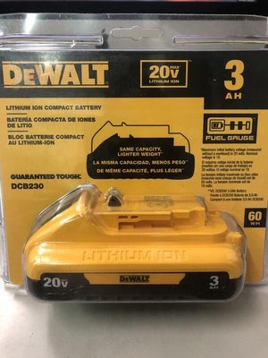 【屏東工具王】全新 新款 DEWALT 得偉 18V/ 20V DCB230 3.0A 鋰電池 帶電源顯示