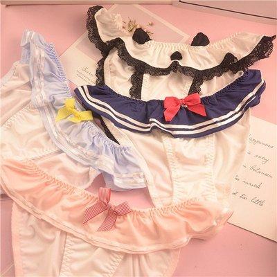 舒適出口日系限量胖次少女系帶水鉆刺繡夏日雪紡荷葉裙邊蝴蝶結女內褲