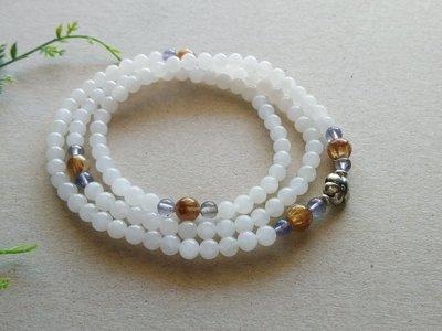 簡單Simple。現貨。00426號天然 和闐玉/和田玉/白玉多圈手串泰國925純銀珠佛珠念珠 6MM。