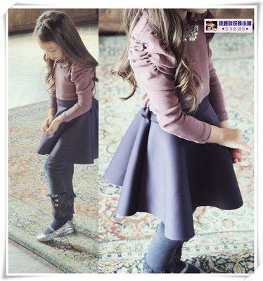 •*~ 辣媽咪衣飾小舖 ~*•❤童裝系列❤N560319韓版甜美泡泡袖加絨加厚長袖洋裝