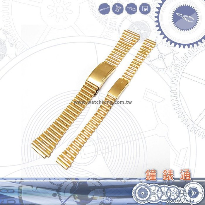 【鐘錶通】竹節錶帶 金屬錶帶 D2012/16G / 16-15 / 12-10 mm