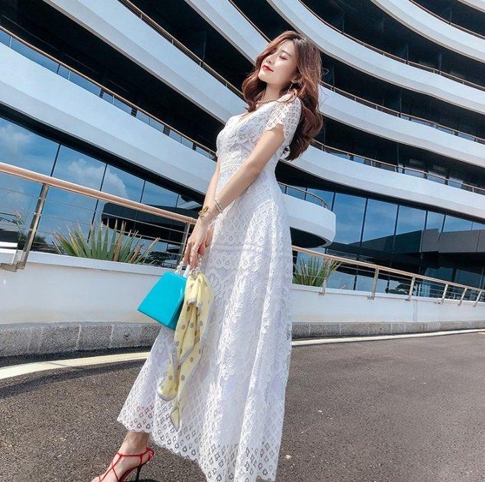 短袖長款蕾絲洋裝V領白色全蕾絲高腰長裙長款蕾絲短袖洋裝許願魔鏡@wishing Mirror-*-TL13188