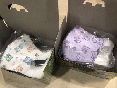 【咪寶小舖】淨新 4-7歲兒童立體耳掛式一體成型口罩附盒 柴犬/紫熊 【1盒50入】