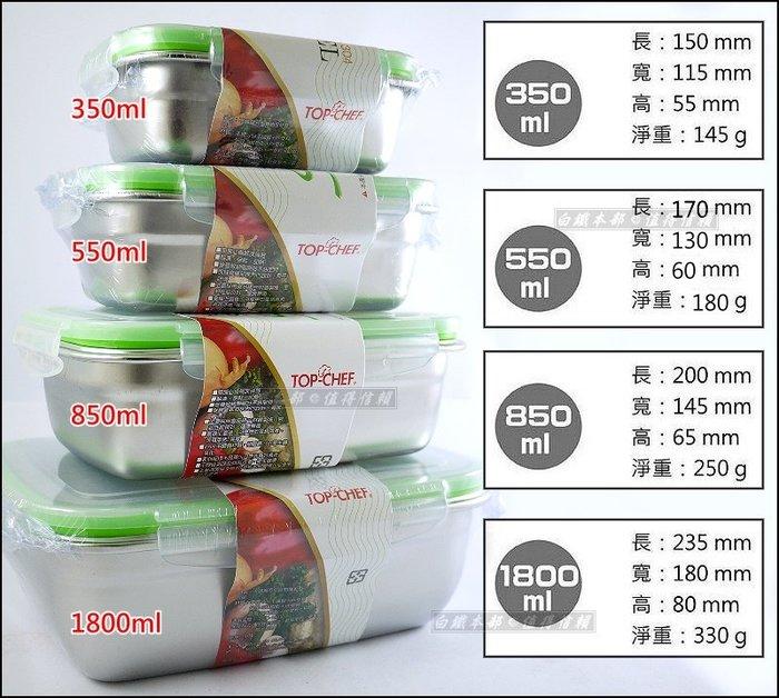 白鐵本部㊣TOP~CHEF~304不鏽鋼保鮮盒550ml~便當盒 密封防漏 解凍食器烘焙烤