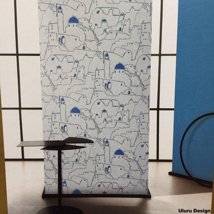 【韓國進口】地中海壁紙 藍色 房屋 壁紙 DIY壁紙 現代風格 壁紙 兒童房/咖啡廳/早午餐/酒吧 設計師款 韓國壁紙