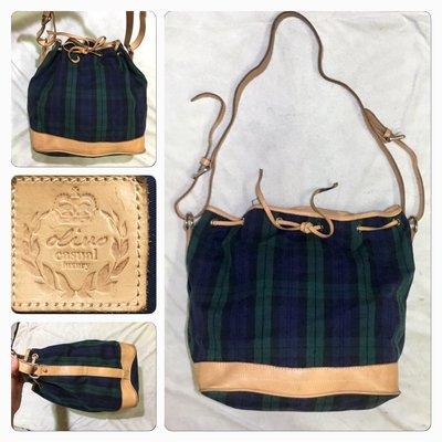 低價起標~專櫃 Olivo品牌 牛皮側背包 皮革水桶包 格紋束口包 似Polo Ralph Lauren 經典款