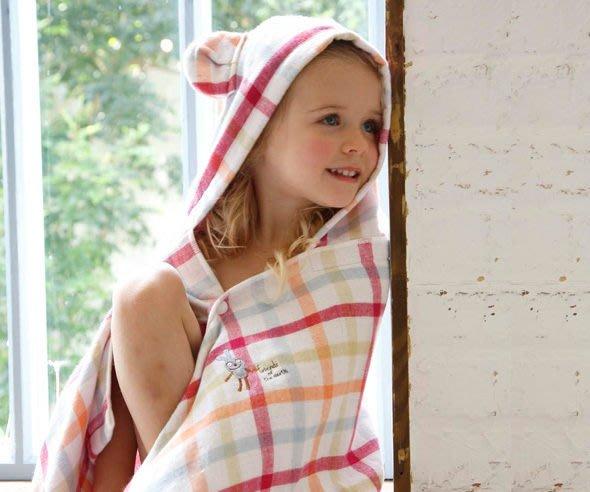 發現花園生活館~日本製 kontex  今治毛巾 一面紗一面棉 雙格紋 連帽 浴巾~橘貓/藍熊/粉兔