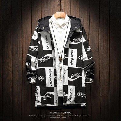 秋季兩面穿夾克男潮流韓版寬鬆雙面中長款風衣男大碼涂鴉印花外套