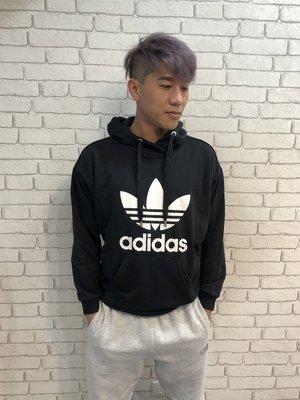 (高雄自取)現貨在台 Adidas 男女款三葉草黑色經典款大Logo棉質連帽長袖T
