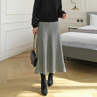 Bellee  正韓  高磅數人字紋彈性針織長裙  (2色)   【DW122438】 預購