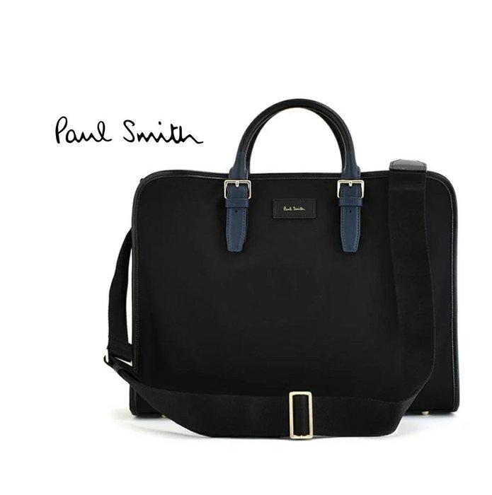 Paul Smith (黑色×藍色提把 ) 尼龍×真皮 手提包  肩背包 公事包   |100%全新正品|特價!