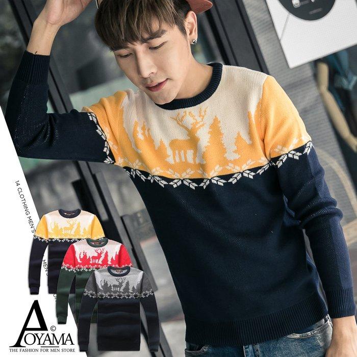 針織毛衣 冬潮流麋鹿配色造型針織毛衣【D8918】青山AOYAMA