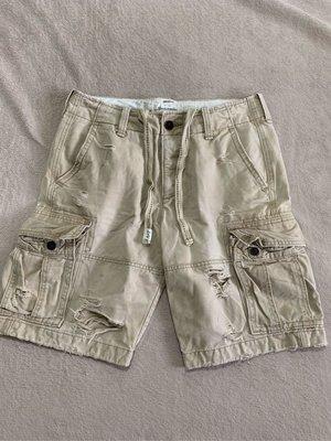 Abercrombie and Fitch A&F男生厚棉重磅工作褲 口袋褲 淺卡其色 九成新 31腰 腰圍平量42cm臀圍55cm腿圍33cm褲長52cm