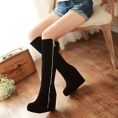 長靴秋冬新款側拉鏈高筒靴坡跟厚底 超高跟內增高女靴子