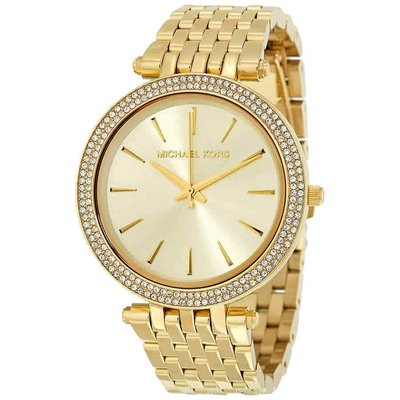 【換日線】女錶 Michael Kors Darci Glitz Gold Dial Pave Bezel Ladies Watch MK3191