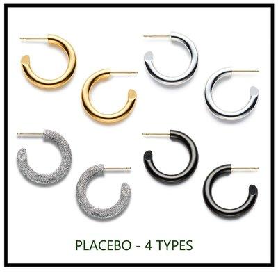 藝術珠寶~ ESSENTIAL新系C位PLACEBO簡約百搭款全18K真金電鍍銀針耳釘