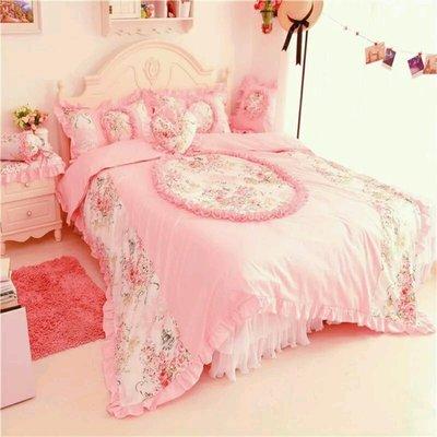 粉紅玫瑰精品屋~韓式公主粉色蕾絲床組~