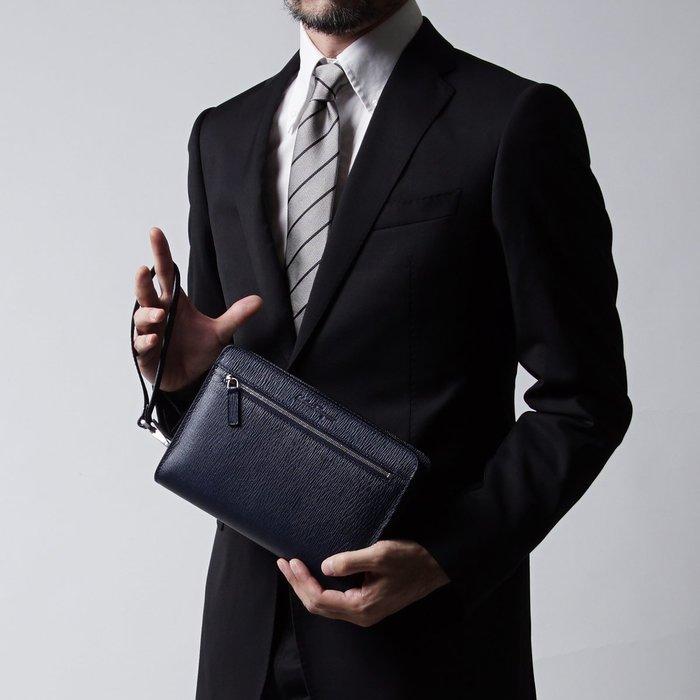 【salvatore ferragamo】黑色真皮手拿包 含掛帶