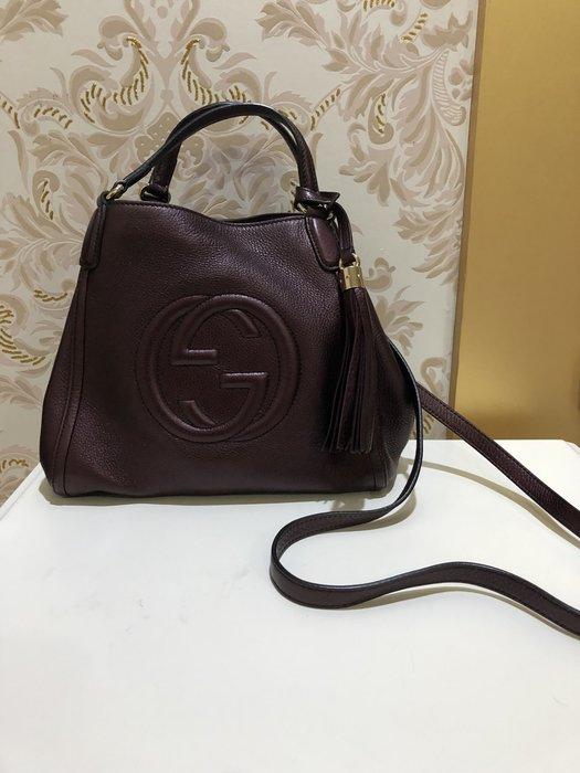 Gucci紫紅手提肩背包~39999