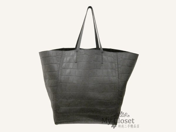 My Closet 二手名牌 CELINE 黑色鱷魚皮壓紋手提 / 肩背 購物包
