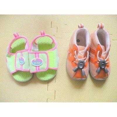 90%新13.5cm長小孩小童兒童(1)【Combi】橙色,運動鞋(2)【Place】綠色,5/6碼,沙灘鞋涼鞋拖鞋,原$467