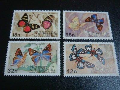 【大三元】F19各國蝴蝶專題系列-非洲郵票-尚比亞-新票四全1套