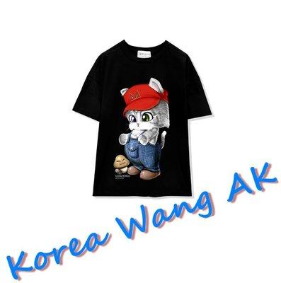 Korea Wang AK ~(預購)台灣原創獨家設計 美國100%純棉 限定版 瑪莉歐萌喵寬T 三款【P039】