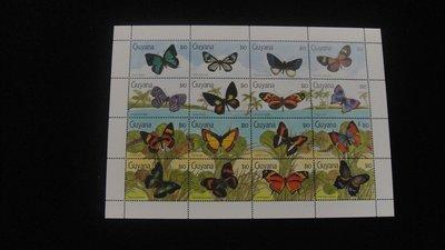 【大三元】美洲郵票-蓋亞那-A45各國動物專題小全張-蝴蝶 ~原膠